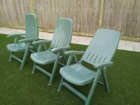 3 Reclining Garden Chairs