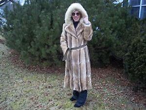 Beautiful Calf Length Mink Fur coat With coyote hood trim