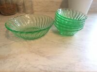 Green Glass Bowl Set - 1 Large & 6 Small
