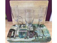 3 Champagne Glass, a posh tray and a bread board