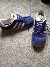 Blue Adidas Gazelles size 8