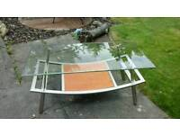 Coffee table,glass and metal,wood curved very stylish