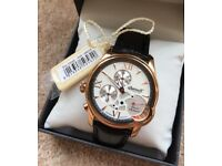 Ingersoll Automatic Limited Edition Power Reserve Watch Rose Gold/Black Leather