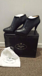 PRADA- Black leather ankle boots