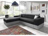 *7-DAYS MONEY BACK GUARANTEE* MADEIRA FABRIC CORNER SOFA BED SETTE IN BLACK/BROWN SOFABED