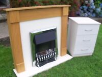 Electric Fire With Surround Silver Chrome In Excellent Condition With Side Cabinet Deliver