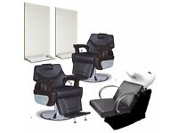 New and Boxed Executive Barber Chairs and Barber Mirrors