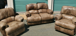 Love seat recliners + 2 recliners.