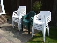 3 Sets of 4 garden chairs. 2 white 1 green Sold as per set.