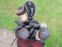 Left handed Golf Clubs bag and trolley
