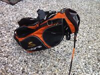 COBRA GOLF BAG CARRY STYLE WITH STAND BLACK AND ORANGE 11 POCKETS IZZO STRAP