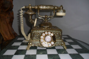Brass Vintage Look French Victorian Style Rotary Dial Telephone