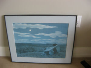 """framed print of Alex Colville painting called """"moon and cow"""""""