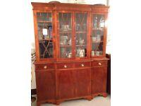 4 Door Yew Glass Cabinet