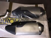 Triumph Speed Triple 1050 OE exhaust silencers (x 2) and link pipe system. For 2011 - 2015 models