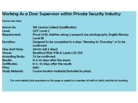 SIA Licence Training, Door Supervision,Security Guarding, CCTV Courses in Bradford