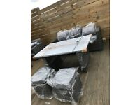 Outdoor garden dining set 5 seater rattan in grey - delivery available