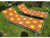 2 vintage 1970s sunbeds sunloungers groovy orange floral