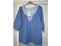 Store Twenty One Blue patterned top Size 18 New. Cost £9.99