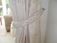 Pair large cream curtains & free tack & frill