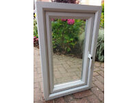 Unused Small UPVC Double Glazed Hinged Opening Window. 80cm tall x 50cm wide. Clear Glass.