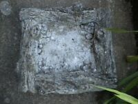 VERY OLD STONE BIRD BATH TOP 17X17X4 INCHES