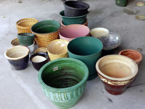 Lot of Free Pots and Planters - Ceramic, Wicker and Plastic