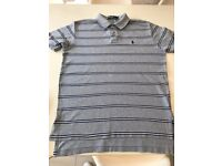 RALPH LAUREN POLO Shirt Mens Classic Fit Grey Striped t-shirt boys unisex Medium Large M RRP £75