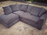 Grey corner sofa with cushions - great condition