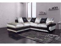 ❤Cheapest Price Guaranteed❤ New Double Padded; Dino Diamond Crushed Velvet Corner Sofa Or 3+2 Sofa