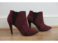 Dorothy Perkins dark red/burgandy diamante heel ankle boots, UK size 4.