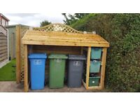 Wheelie bin amd recycling box storage unit