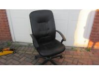 Two computer chairs - both black faux-leather tilting and height adjustable