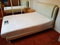 Cream Faux Leather King Size Bed and Komfi Mattress spring and memory foam mattress.