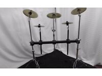 Pearl square drum rack on two cymbal stands with accessories.