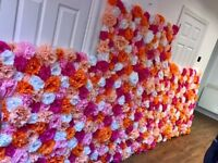 Beautiful hand made flower walls for all types of parties or events - for hire or sale