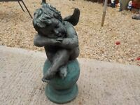 Sitting Cherub On A Ball Polyresin Garden Statue Ornament(green metal looking)