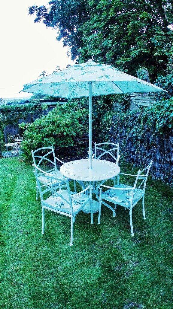 Laura Ashley Garden Furniture Laura ashley garden table 4 chairs and parasol in braunton laura ashley garden table 4 chairs and parasol workwithnaturefo