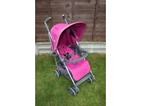 Pink Silver Cross Reflex pushchair buggy with footmuff and raincover CAN POST