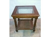 Antique glass topped side table
