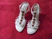 "Gino Ventori Women's Sandals Size 37 (UK 4) 3¼"" heel, attractive decoration: excellent condition"