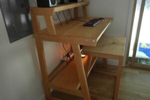 Custom solid wood standing desk with chair