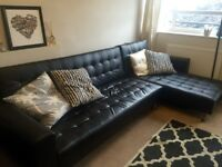 Large black corner sofa bed eco leather, great condition