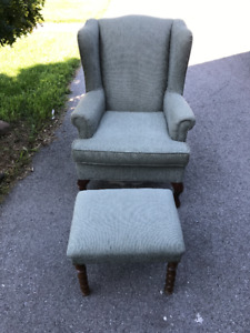Wing Back Chair and Footstool