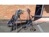 Job lot of golf clubs, bag and trolley