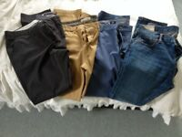 Abercrombie&Fitch Skinny Jeans; Chinos-MidGrey FCUK, Mustard River Island, Blue H&M- all 36Wx32L