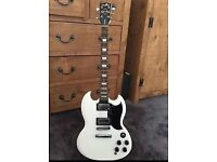 Chord SG Style 1961 Arctic White Electric Guitar. Immaculate!