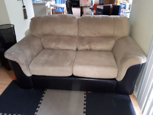 Part leather sofa and loveseat