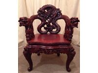 Antique Asian Chair - Chinese Export Wood Carved Dragon Lion Foo Dog Armchair - Rare - FREE Delivery