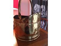 Antique brass helmet coal bucket with original patina 32cm in dia